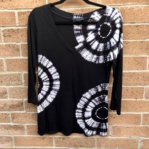 INC Tie Dye And Studded 3/4 Sleeve Top M